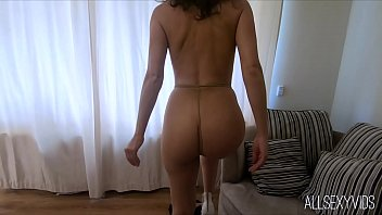 French Chloe Shiny Pantyhose Play and Pussy Tease