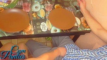 Schoolgirl handjob friend in a school cafe