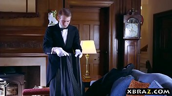 Busty wife bangs the butler when her husband is gone thumbnail