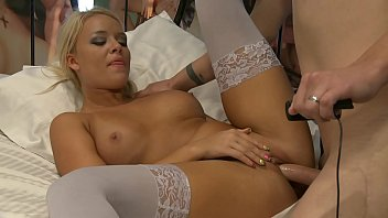 guy is holding the cam and fucking blonde model alexis monroe in white stockings