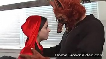 Little red riding hood gets stuffed by the big bad wolf
