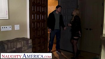 Naughty America - Ashley Fires has her boy toy creampie her while her husband sleeps