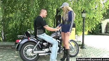 Biker handjob Mom fucks a biker in public