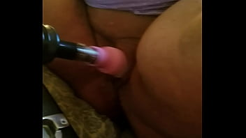 Daddy's Bbw whore getting fucked by machine