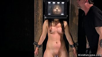 Beauty with head in a box pussy vibed