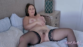 AuntJudys - 43yr-old Big Tit MILF Brandii gives JOI in Stockings & Lingerie