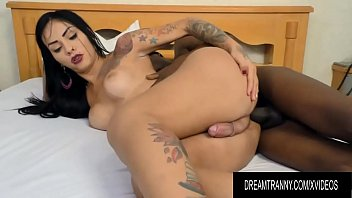 Phat Ass Tranny Nicolly Pantoja Bends over for a Big Black Cock