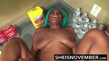 Ebony Step Sister Msnovember Is Fucked In Kitchen Hardcore Bro Sex & Blowjob POV