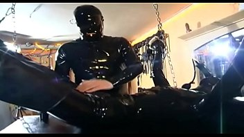 Sexy slave hanging and waiting for something to blow