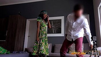 Amateur In African Dress Strips Down and Please White Cock porn thumbnail