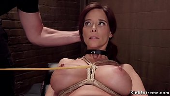 Busty Milf fucked and caned threesome