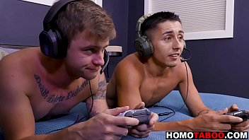 Gay brothers play video games then fuck