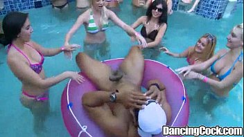 Crazy bachelor party orgy Dancingcock poolside orgy