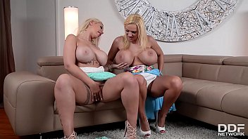 Top-heavy babes Kyra Hot & Dolly Fox lick their pinks & squeeze their tits