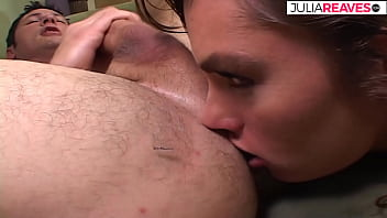 Naomi Gives Her Hubby A Nice Rim Job Before A Friend Joins Them And She Get A Hard Double Penetration