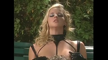 Sexy blonde in leather loves to suck dick outdoors and get ass fucked on bench