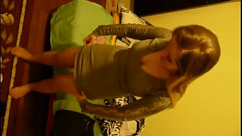 Young polish blonde teen girl putting on her pantyhose and dress, dressing up pornhub video