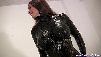 Latex paint and boiled linseed oil Greased and oiled mindi mink wet and messy