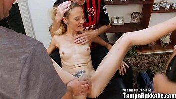 Thin Blonde Tiny Tits Slut Bukkake Sperm Gang Bang porno izle