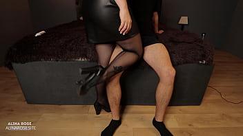Sexy Teacher Handjob In New Striped Pantyhose And Cum In Panties