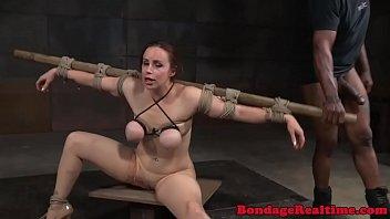 BDSM twerker facefucked in maledom fourway