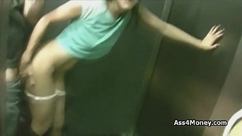 Quickie in the elevator with Spanish waitress