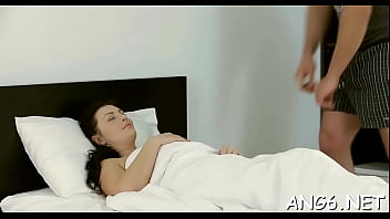 Mouthwatering brunette barely legal Alice C gets shaved cherry fucked 5 min