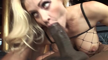 Blonde mature takes a facial after an interracial anal fucking