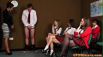 Euro Cfnm Teens  Teaching A Handjob Lesson djob Lesson