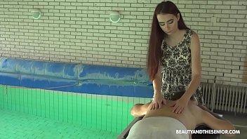 Beautiful teen redhead masseur gives senior a happy ending 5 min