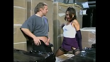 Vintage warehouse Two workers fucking the bosss daughter in the warehouse