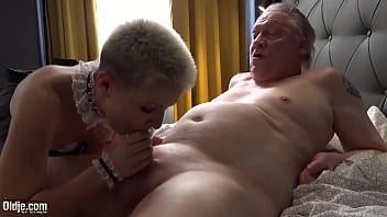 White haired grandpa fucks the house maid in her tight pussy