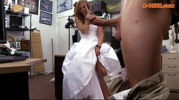 Girl in wedding dress banged by pawn guy