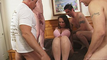 Perfect amateur brunette fucked in a gangbang
