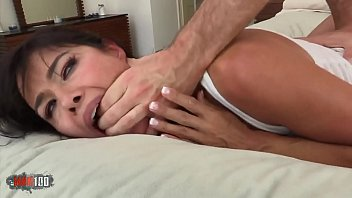 Sliding his huge cock into her hairy pussy soaked in desire
