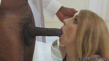 Trans blonde gets cum in mouth