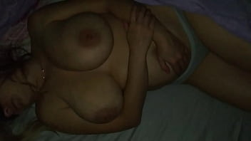 Brother in the evening to his stepsister in the room and cum on her tits