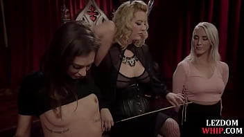 Roped Brunette Gets  Dp Fucked By Her Lesbian Friends