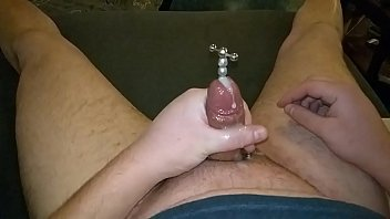 Compilation cumming while sounding rod is buried in my cock, with slow motion replay