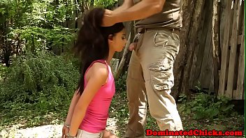 Petite teen dominated outdoors by maledom