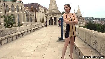 Anal plugged beauty walked bare ass in public