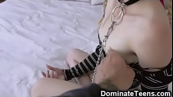 Pigtailed Teen Slapped And Throated!