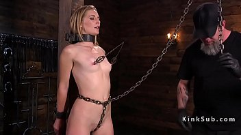 Bound slave pussy and anal toyed