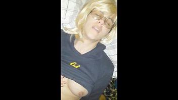 Blonde girl uses huge dildo Guy finds drunk girl sasha masturbating, and then fucks her