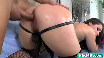 Sexy brunette is fucked hard from behind