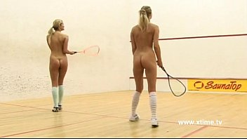 Big tits tennis Young lesbians tennis players, playing with racket and pussy