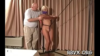 Big bold guy has no mercy for cute girl as he bounds her taut