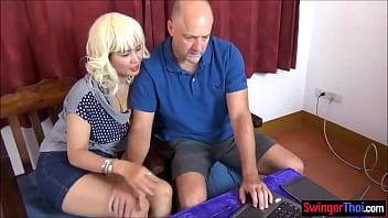 Amateur Thai swinger MILF wife fucked by a huge cock stranger