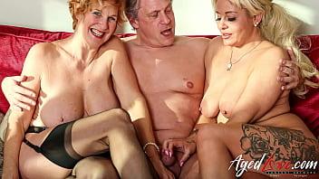 AGEDLOVE Two Blonde Ladies Hard Threesome Sex