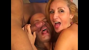 Old guy and mature slut suck young guys hard cock then fuck in threesome